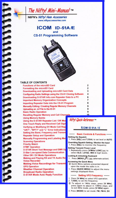 ID-51A/ E Nifty Mini Manual combo 28 page spiral-bound Mini-manu
